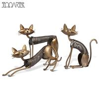 Tooarts Metal Sculpture Iron Art Decoration Cat Shaped Handicraft Crafting Escultura Art Decoration Home Furnishing Ornaments