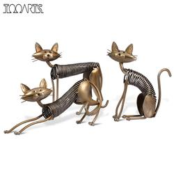Tooarts Metal Figurine Iron Art Decoration Cat Shape Handicraft Crafting Figurine Art Decoration Modern Home Decoration Ornament