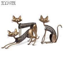 Tooarts Metal Figurine Iron Art Decoration Cat Shaped Handicraft Crafting Figurine Art Decoration Home Ornaments