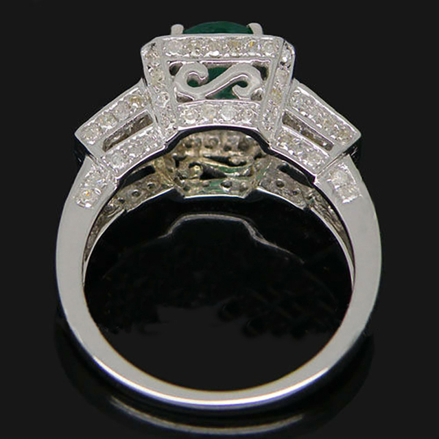 Loverjewelry Ring For Women New Style Vintage Oval Cut Solid 14k White Gold Diamond Engagement Natural Emerald Lady Ring Jewelry