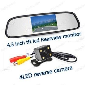 Venta al por mayor de coche espejo Monitor de 4,3 pulgadas con 4 LED de visión nocturna coche Cámara retrovisora de marcha atrás Monitor de aparcamiento sistema