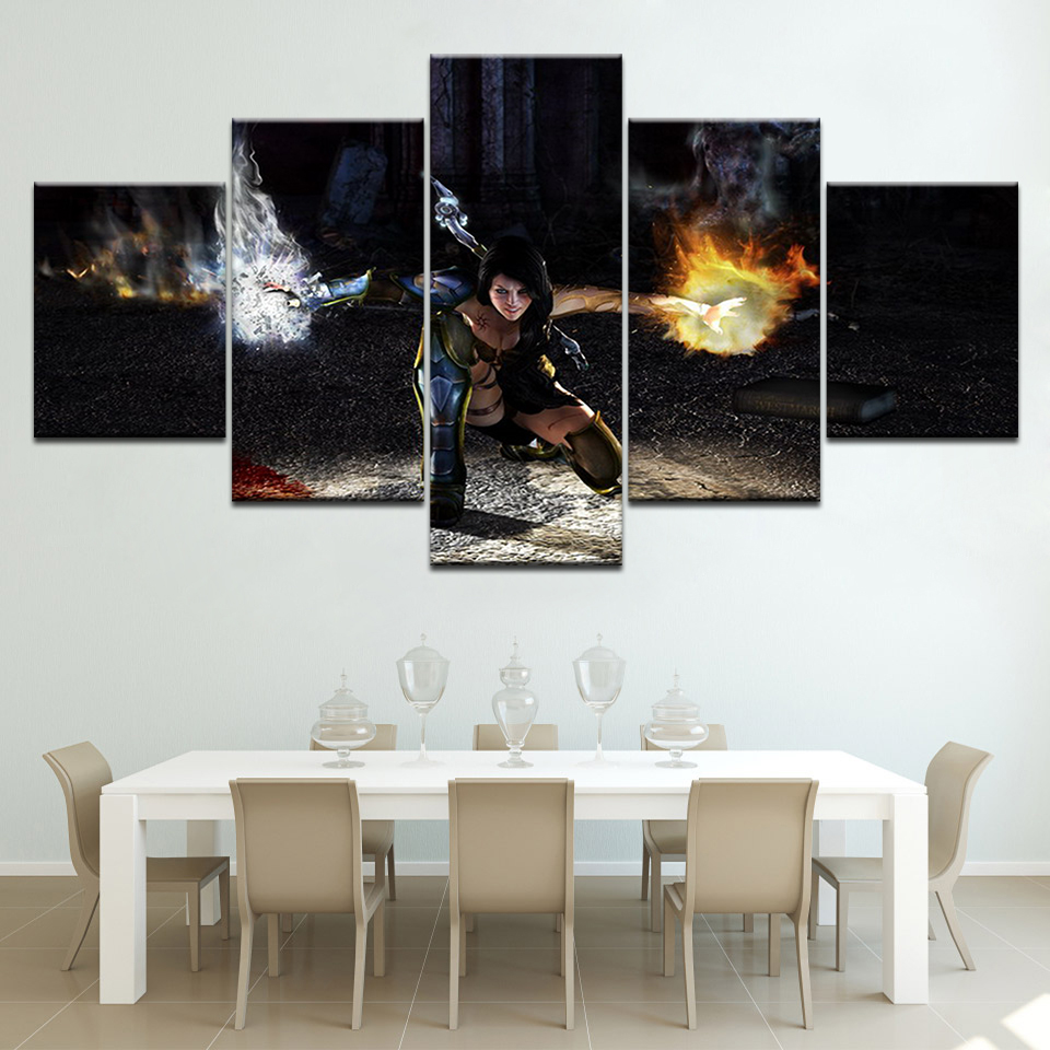 Framed Modular Printed Anime game characters 5ps picture painting wall art children's room decor poster canvas Free shipping