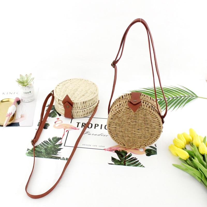 Women Summer Rattan Bag 2019 Round Straw Bags Handmade Woven Beach Cross Body Bag Circle Bohemia Handbag Bali Box Dropshipping