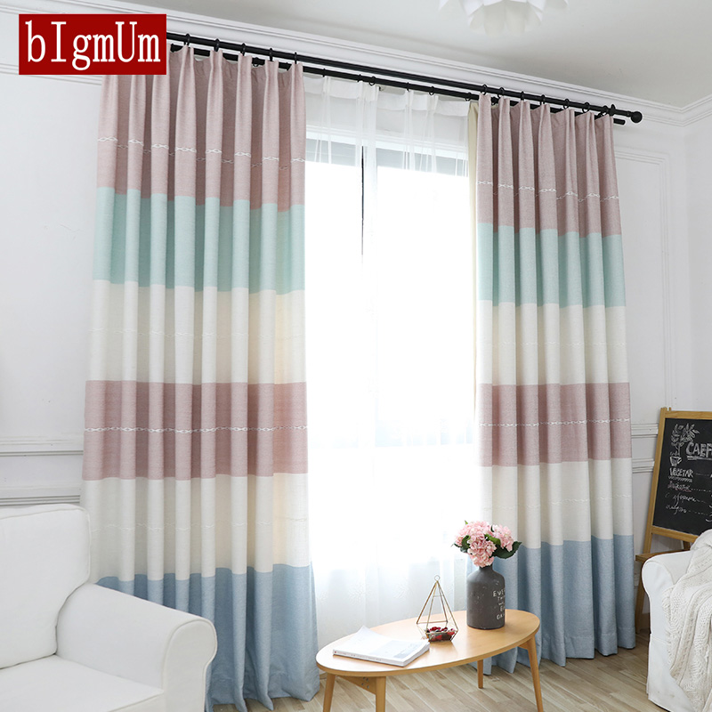 Simple Window Kitchen Curtains Colorful Stripe Curtains
