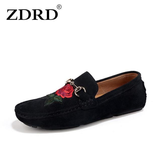 ZDRD 2018 Superstar Hommes Casual Véritable Daim En Cuir Mocassins Chaussures Italien Marque De Luxe Chaussures