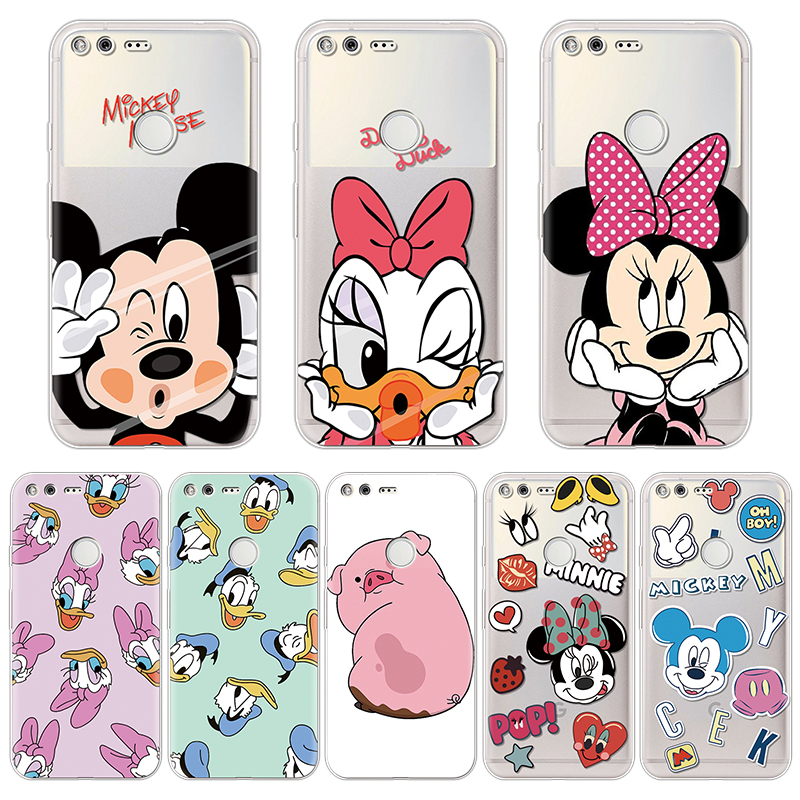 Dream Shell Pattern Luxury Soft Cover For Coque Google Pixel Case Cartoon Minnie Mickey Protective Silicone Back Bags Fundas