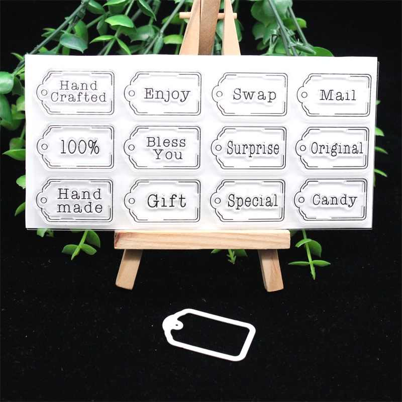 KSCRAFT Cute Tags Stamp and Metal Cutting Dies Stencils for DIY Scrapbooking/photo album Decorative Embossing DIY Paper Cards