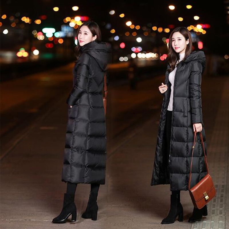 2019 New large size women down jacket Hooded long thick winter coat over the knee Outwear casual warm jacket Female clothing in Down Coats from Women 39 s Clothing