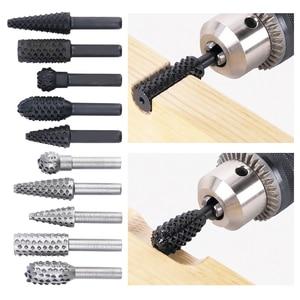 Image 1 - Lime à râpe rotative en acier pratique, tige de 1/4 pouces, lime rotative, mèches du bois, outil électrique de meulage, 5 pièces/ensemble