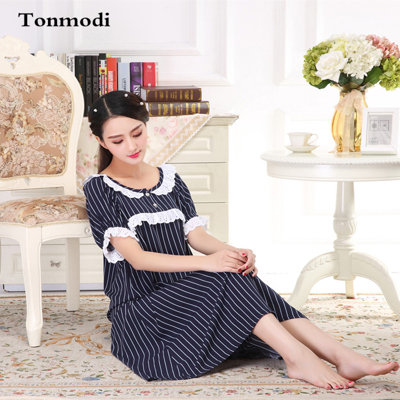 Long Nightgowns For Women Cotton Woven Nightgown Navy stripes Stitch Sleep Skirt Loose Ladies Lounge Nightdress lace Short sleev