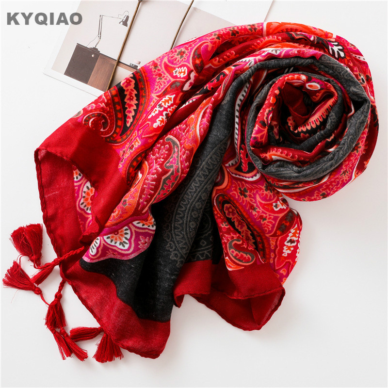 KYQIAO women designer brand head   scarf   2019 female autumn winter Mexico style vintage bohemian long red print   scarf     wrap