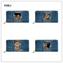 FORUDESIGNS Girls Cute Denim Cat Printing Coin Pocket Ladies Cluth Long Purse Pu Leather Feminina Phone Card Holder Carteira
