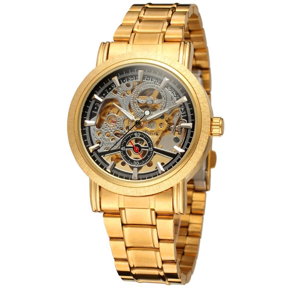 Fashion WINNER Brand Men Luxury Gold Skeleton Stainless Steel Watch Mechanical Hand Wind Wristwatches Gift Box Relogio Releges