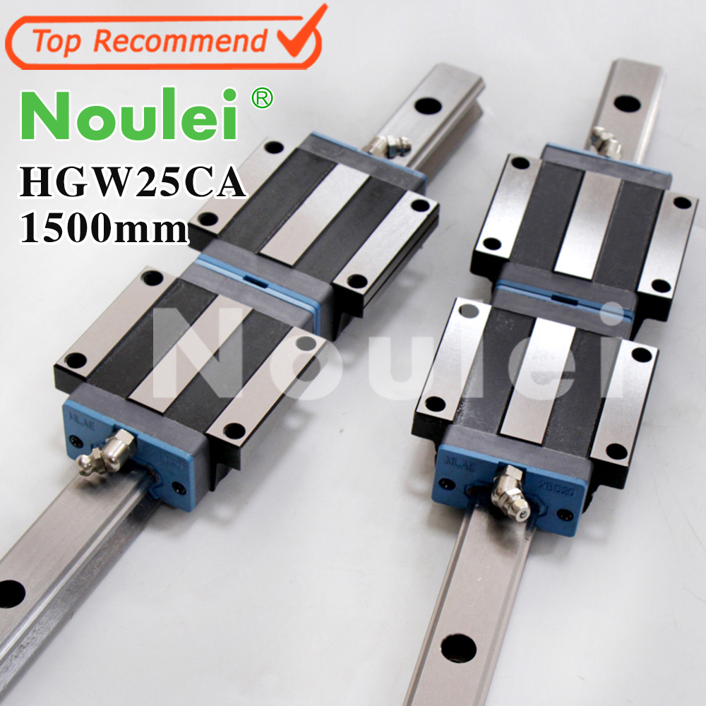 цена на Noulei HGW25CC HGW25CA slide block with 1500mm linear guide rail HGR25 for CNC z axis HGW25 guia
