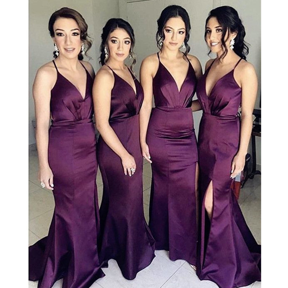 High Quality Purple Satin   Bridesmaid     Dresses   2019 New Floor Length Mermaid Spaghetti Strap Sexy Wedding Party Gowns With Split