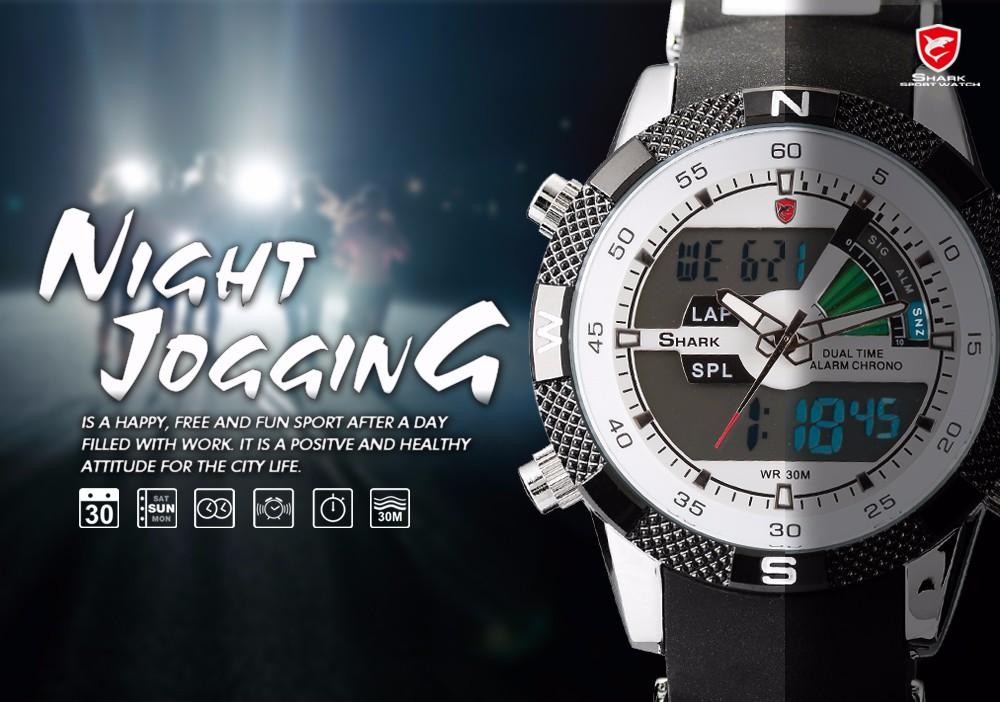 Porbeagleฉลามกีฬานาฬิกาผู้ชายกลางแจ้งแฟชั่นดิจิตอลมัลติฟังก์ชั่วันนาฬิกาจับ 5