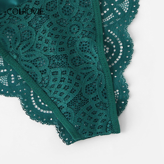 COLROVIE Green Tie Side Scalloped Trim Ribbon Lace Lingerie Set 2