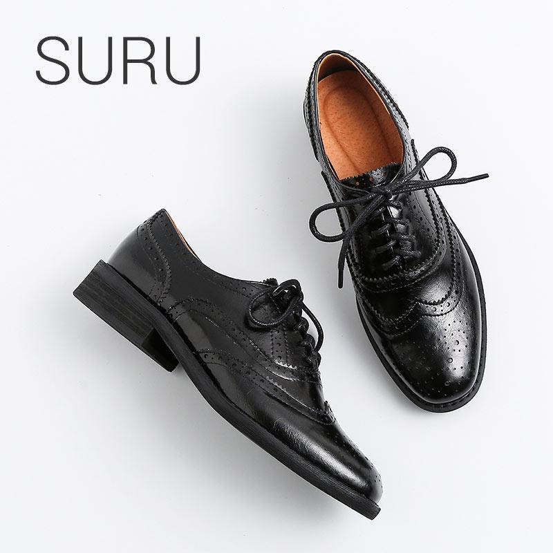 SURU dames en cuir véritable richelieu chaussures femmes vernis noir Oxfords chaussures