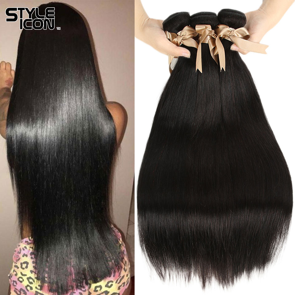 Styleicon Straight Hair Bundles Hair Weaves Machine Double Wefts Can Be Dyed Tange Free Natural Color Brazilian Human Hair Wefts