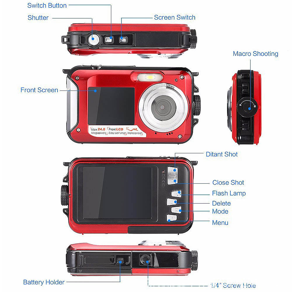 Digital Camera Waterproof 24MP MAX 1080P Double Screen 16X Digital Zoom Camcorder HD Underwater Camera