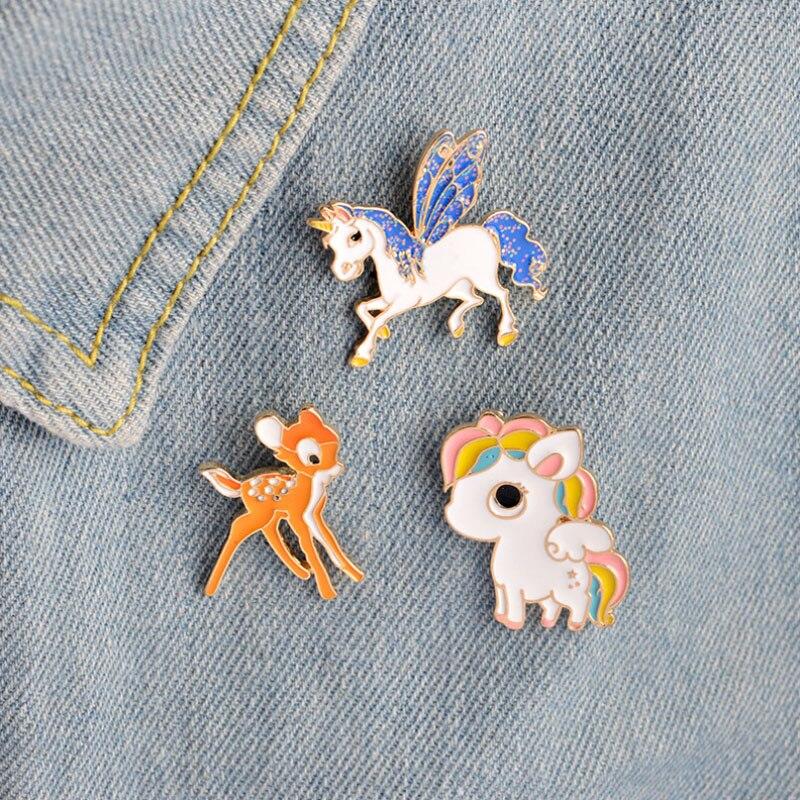 1 pcs cartoon fyling horse deer metal brooch button pins denim jacket pin decoration badge for clothes lapel pins
