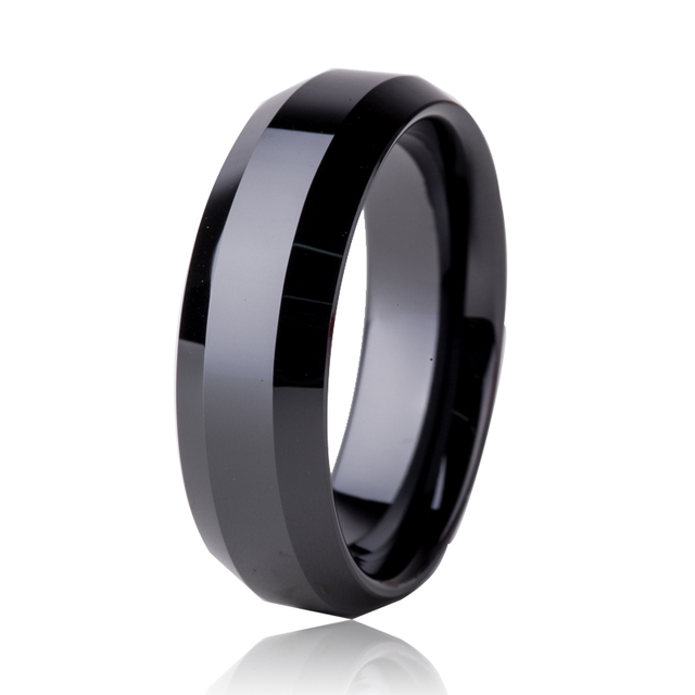 Supernova Sale Fashion Men Jewelry Black Ceramic Rings Party Engagement Wedding Band Jewelry High Polished Finished CE007R
