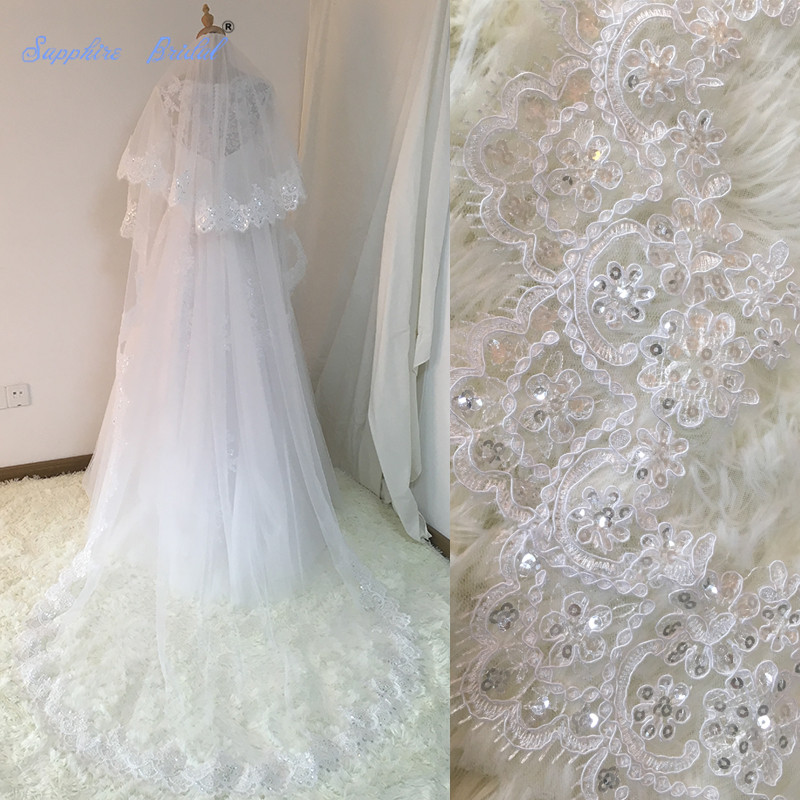 Sapphire Bridal Velos De Novia 2018 Wedding Lace Veils Womens 3 Meters 2 Layers Applique Lace Bridal Wedding Veils With Comb
