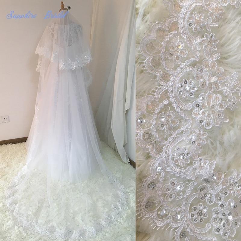 Sapphire Bridal Velos De Novia 2018 Wedding Lace Veils Womens 3