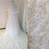 Sapphire Bridal Velos De Novia 2018 Wedding Lace Veils Womens 3 Meters 2 Layers Applique Lace Bridal Wedding Veils With Comb