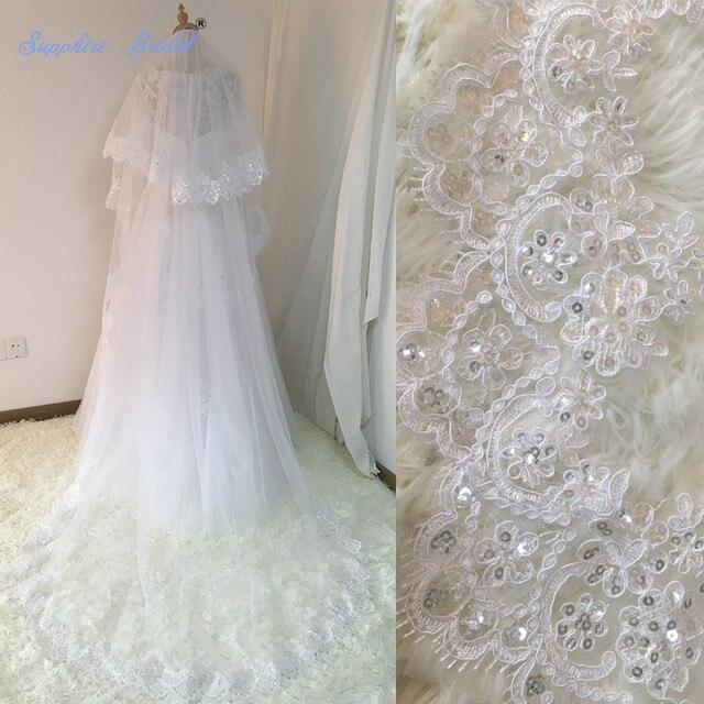 Sapphire Velos De Novia 2018 Pernikahan Renda Kerudung Pengantin Womens 3 Meters 2 Layers Applique Lace Bridal Pernikahan Kerudung Dengan sisir