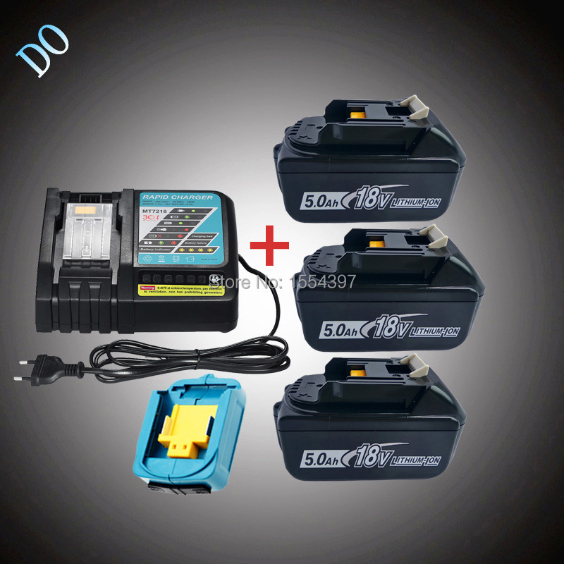 3PCS BL1850 18V 5000mAh Li-ion with Rechargeable Power Tool Battery Charger USB Adapter Replacement for Makita 18V BL1840 LXT набор bosch ножовка gsa 18v 32 0 601 6a8 102 адаптер gaa 18v 24