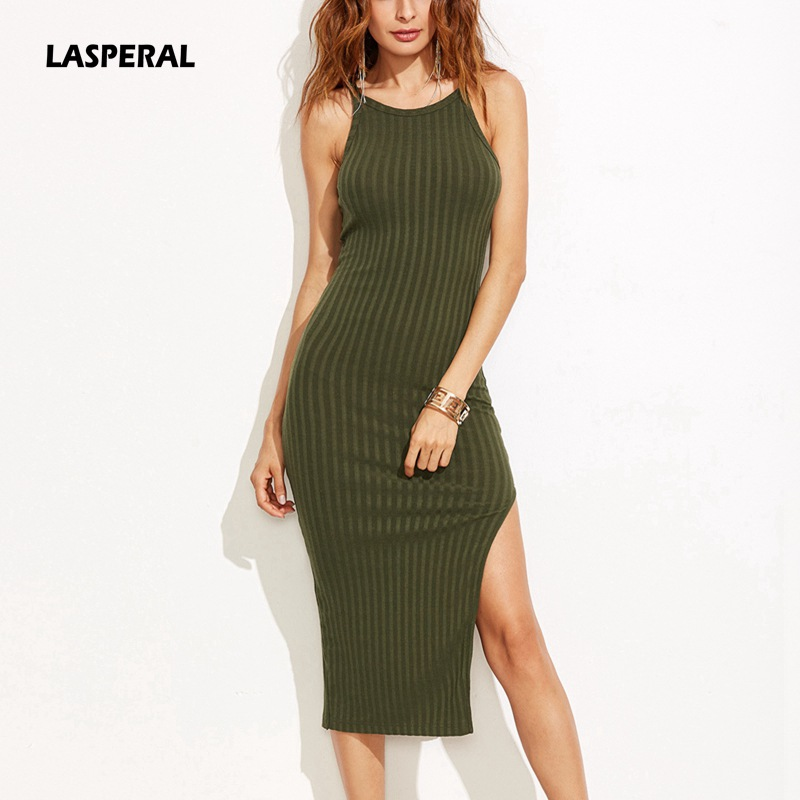 LASPERAL Women Bodycon <font><b>Dress</b></font> Spring Summer 2017 Female Fall Fashion Side Slit <font><b>Ribbed</b></font> <font><b>Camisole</b></font> <font><b>Dress</b></font> Elegant Party Slim Vestidos