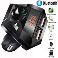 fm משדר Bluetooth גרסה 3.0 Hands לרכב חינם אלחוטי Bluetooth FM משדר מסך LED USB מטען נגן MP3 USB Chargesr # YL6 (5)
