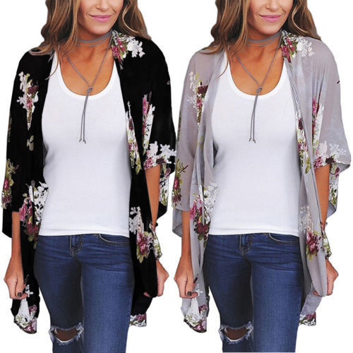 2018 New Women  Loose Blouse Summer Boho Chiffon Coat Shawl Kimono Cardigan Tops