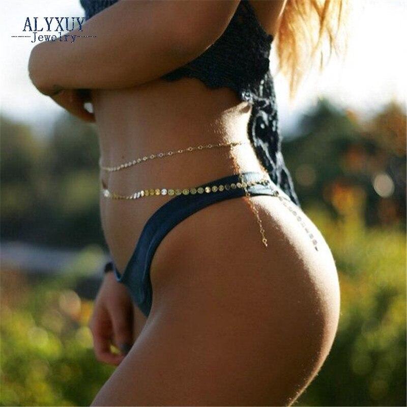 Cupru rotund flake Talie Belly lanț Nou moda trendy corp bijuterii Plajă cadou pentru femei fată BN002