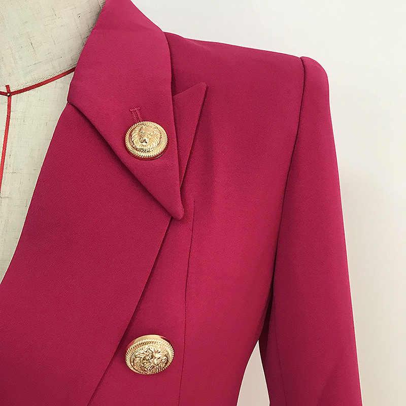 คุณภาพสูง Rose Red Blazer ผู้หญิง 2019 ผู้หญิงฤดูใบไม้ร่วงใหม่แจ็คเก็ตโลหะทองคลาสสิกคู่หัวเข็มขัด Blazers Mujer ชุด