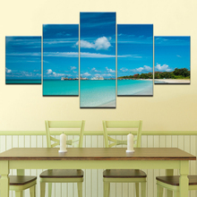 The blue sea sky seascape 5 Panels HD Print Wall Art modern Modular Poster art Canvas painting for Living Room Home Decor wppwdxen photography flowers under the blue sky print art