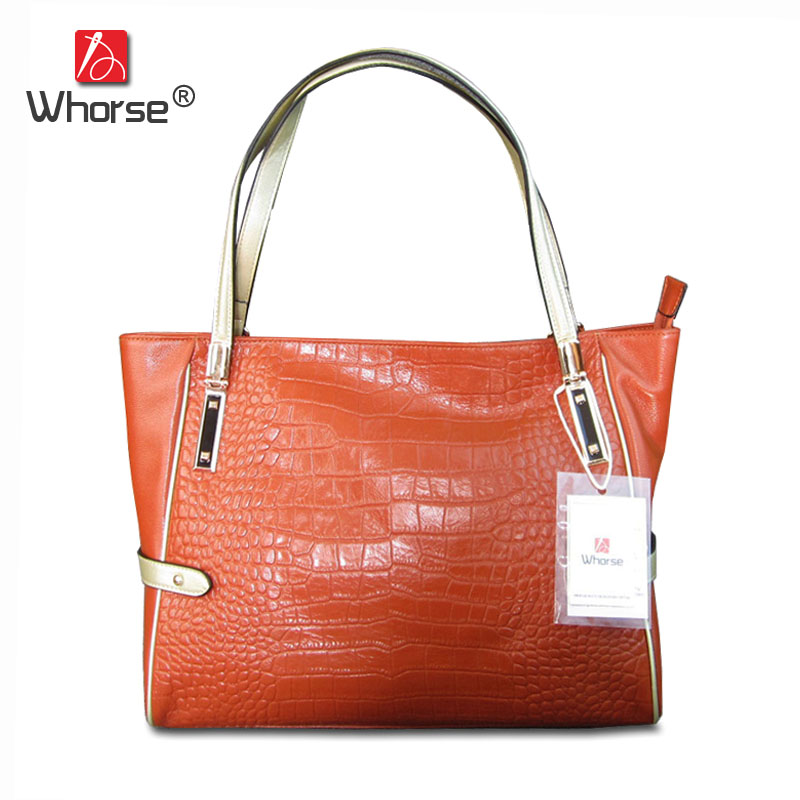 [WHORSE] Brand Alligator Genuine Leather Women Shoulder Bags Large Capacity Casual Tote Handbag Shopping Bag Crocodile W09130 2017 esufeir brand genuine leather women handbag fashion shoulder bag solid cowhide composite bag large capacity casual tote bag