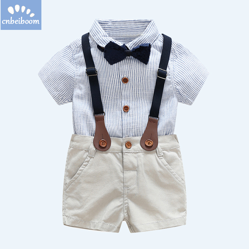 2018 ubranka dla dzieci garnitur Chłopiec krawat Łuk krótka - Odzież dla niemowląt - Zdjęcie 2
