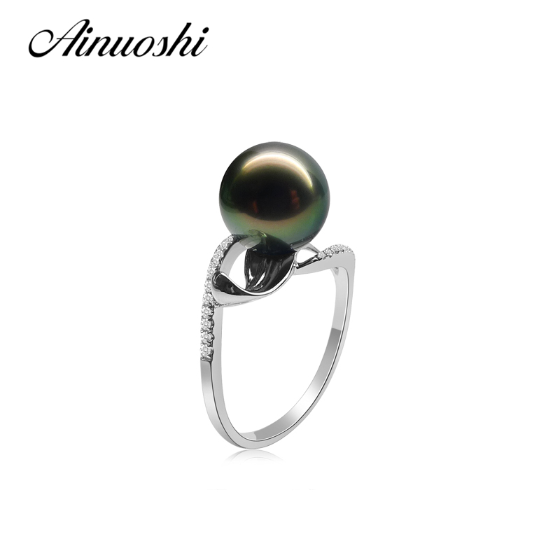 Здесь продается  AINUOSHI Trendy Women 925 Sterling Silver Engagement Rings Natural South Sea Black Tahiti Pearl 9.5-10mm Round Pearl Rings Gift  Ювелирные изделия и часы