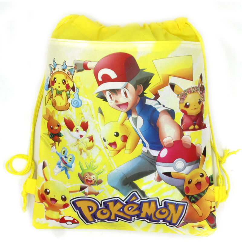 1PCS Baby Shower Party Kids Favors Mochila Decora Birthday Cartoon Pikachu Theme Yellow Drawstring Gifts Bags Pokemon Backpack