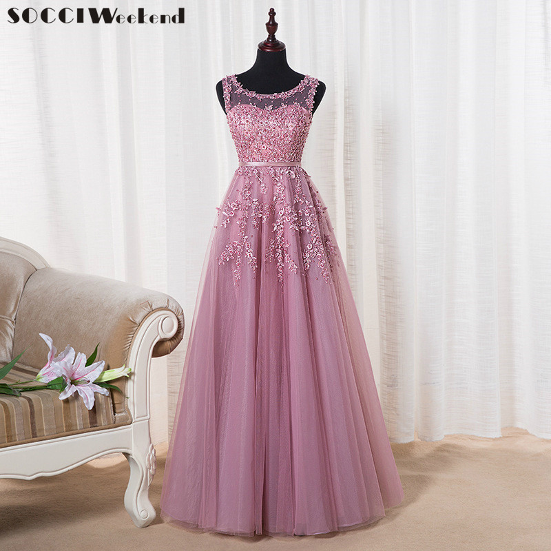 Socci Weekend Pink Appliques Lace Tulle Long Evening Dresses