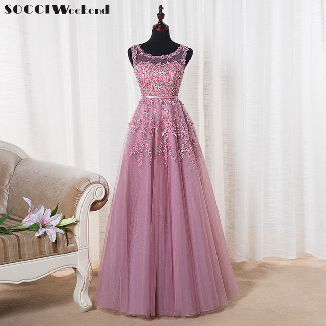 Pink Appliques Lace Tulle Long Evening Dresses Formal Wedding Party Dress robe de soiree Bride Reception gown
