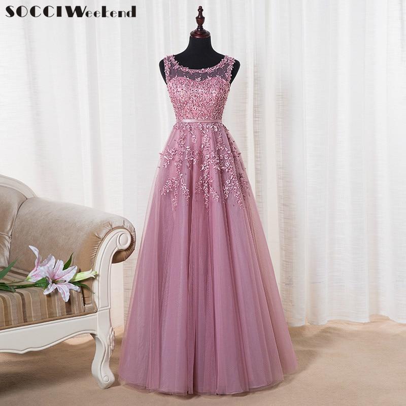 SOCCI vikend ružičasti appliques čipka til duga večernja haljina - Haljina za posebne prigode - Foto 1