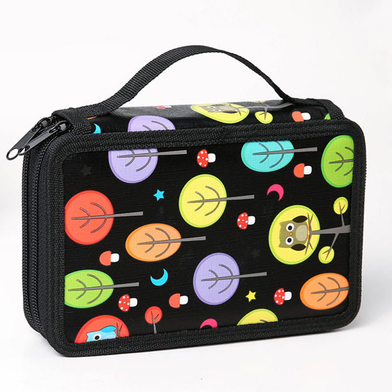 32 Holes 2 Layer Cute Owl School Pencil Case for Girls Boys Zipper Big Capacity Painting Colored Pencil Bag Box Art Supplies 2 layer 36 holes art pen pencil case box students stationary zipper storage comestic make up brush organizer bag school supplies