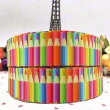 Новый продукт 25 мм цвет карандаша печатная лента для мультфильмов 10 50 ярдов DIY ручной материал подарок ремень ленты в крупный рубчик