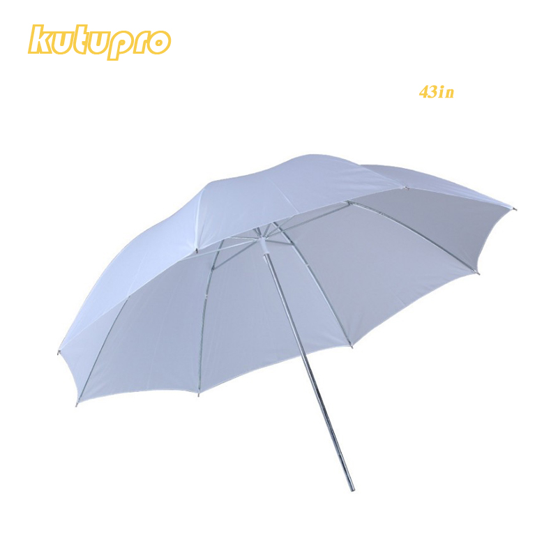 Lightweight 43in 110cm Pro Studio Photography Flash Translucent Soft Lambency Umbrella White Nylon Material Aluminum Shaft