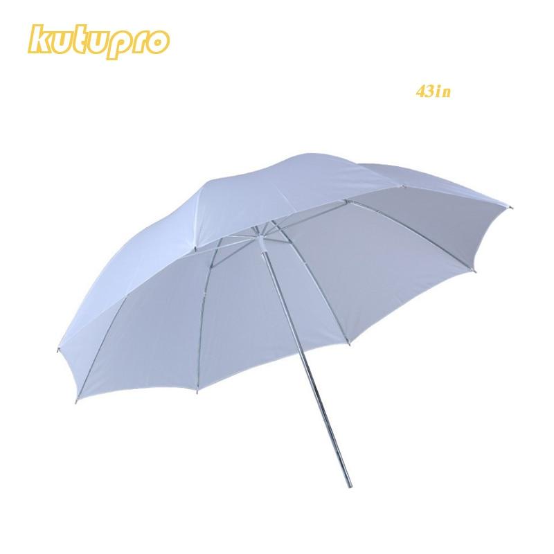 Lightweight 43in 110cm Pro Studio Photography Flash Translucent Soft Lambency Umbrella White Nylon Material Aluminum Shaft