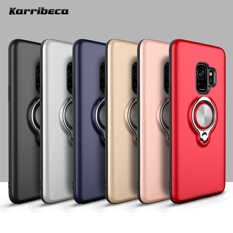 TPU silicone case+ring kickstand plain color plastic cover for samsung galaxy s9 s9+ plus funda hoesje coque etui kryt tok husa
