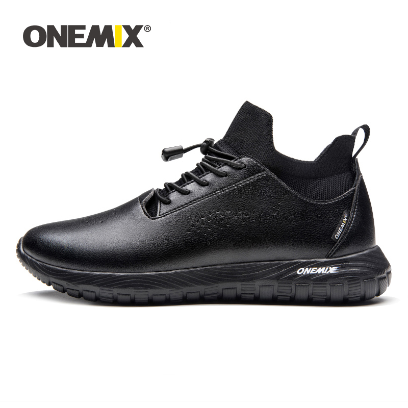 ONEMIX 2019 men stylish shoes sneakers leather luxury brand soft micro fabric light sport shoes walking indoor flat sandals